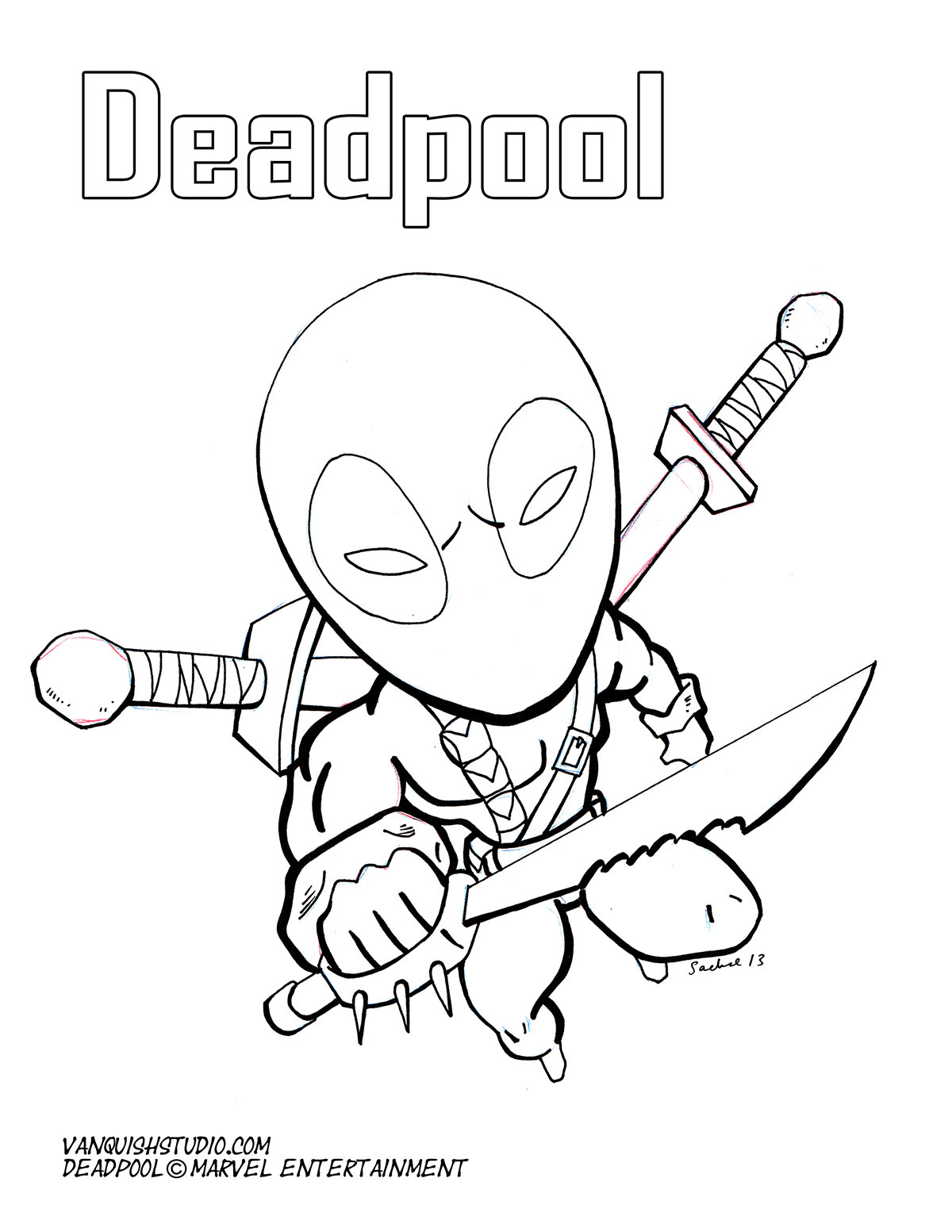 Deadpool Coloring Pages: Deadpool Marvel Comics Coloring Pages