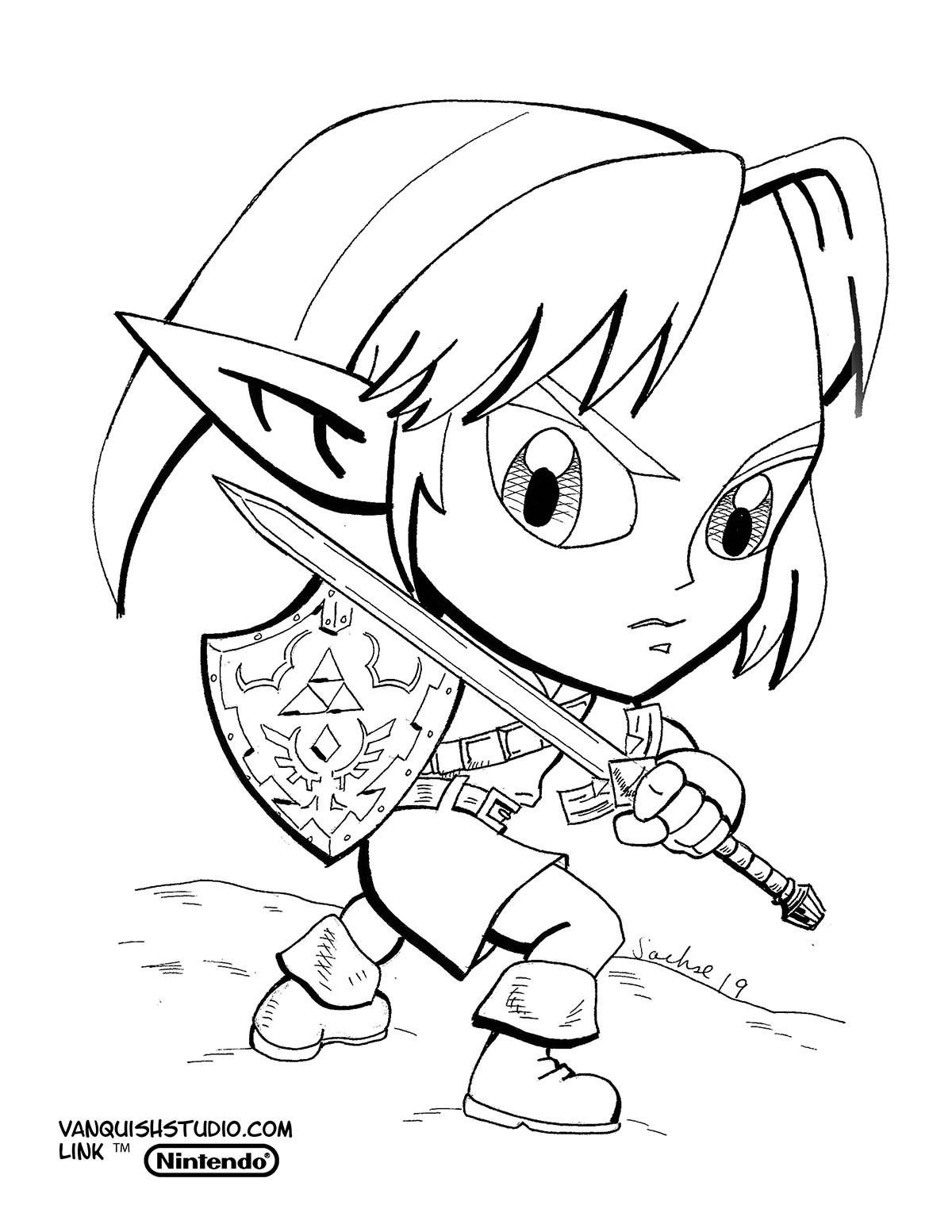 Free Printable Zelda Coloring Pages For Kids | 1553x1200